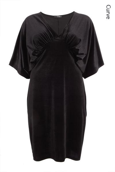 Curve Black Velvet Midi Dress